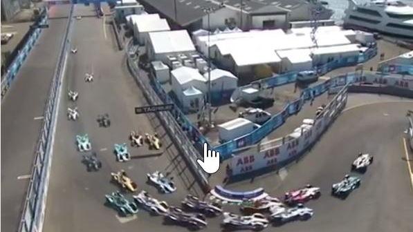 2019 Formula E New York eGrand Prix turn 1 (CREDIT: Formula E Instagram video)