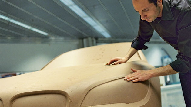 Karim Habib sculpting the clay exterior of the 7-series