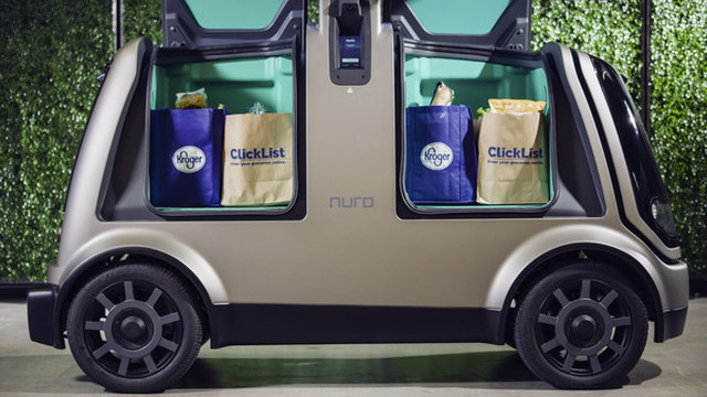 Nuro self-driving car with Kroger grocery delivery