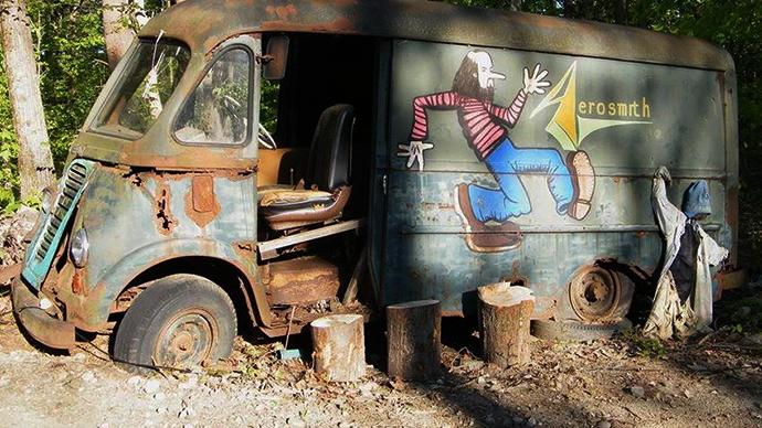Aerosmith's original touring van, a 1964 International Harvester Metro, via @KConz20