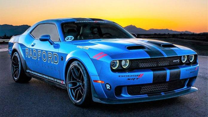 A Dodge Challenger SRT Hellcat wide body now wears Radford Racing School paint and graphics