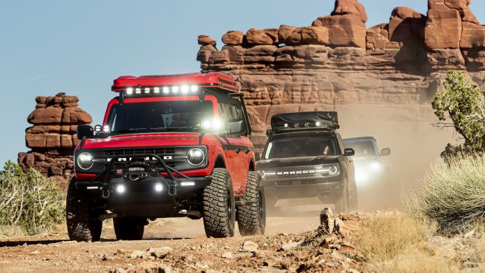 Trio of specially equipped Ford Broncos arrive at the annual Easter Safari in Moab, Utah | Ford phot