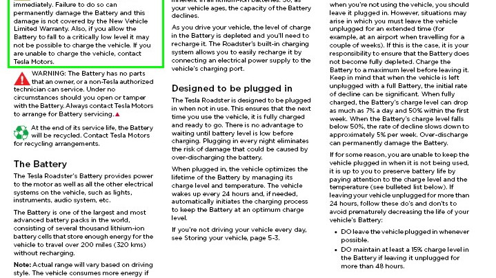 Tesla Roadster owner's documentation, including warnings & restrictions on battery state of charge