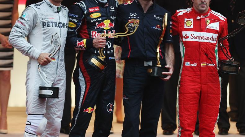 Rosberg, Webber, Adrian Newey and Alonso on the Monaco podium - courtesy Red Bull Racing