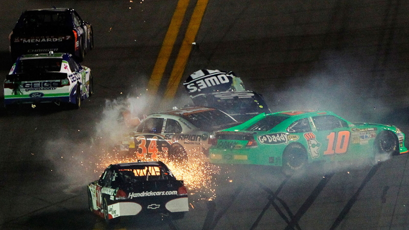The first crash at the 2012 Daytona 500 took out five-time champ Jimmie Johnson. Photo via NASCAR