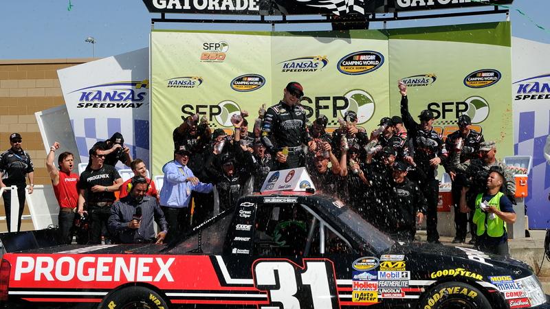 James Buescher celebrates his first Camping World Truck Series win - NASCAR photo