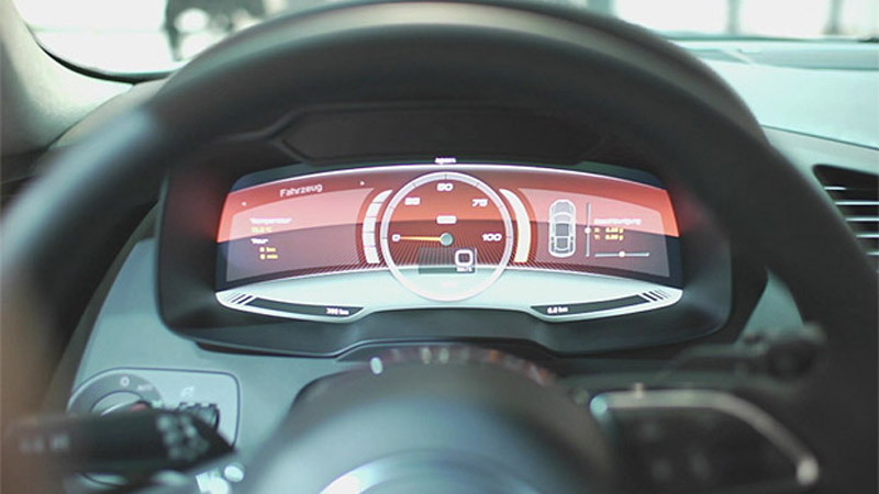 Digital instrument panel of Audi R8 e-tron prototype - Image courtesy of Plug-In Cars
