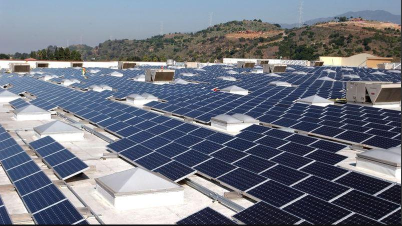 Solar panels on a Walmart store
