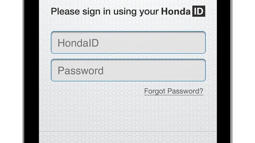 HondaLink app - login scren