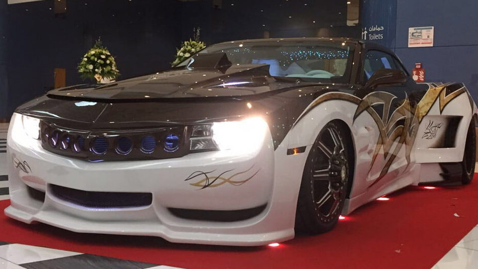 A custom dually Chevrolet Camaro built by UAE Muscle