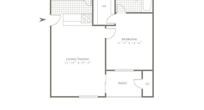 One Bedroom/One Bath- 561sf