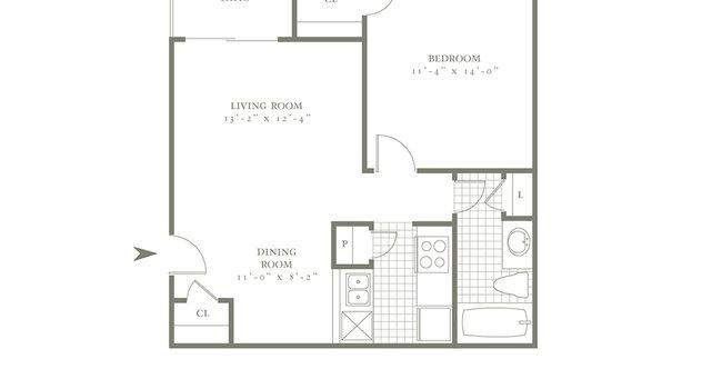 One Bedroom/One Bath- 636 sf