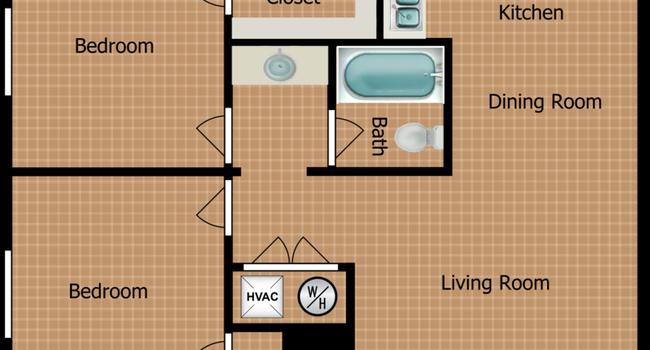 Two Bedroom B Floorplan Diagram