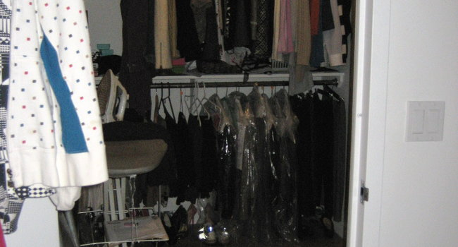 8' x 7' huge walk-in-closet. Ironing board INSIDE closet, ton of storage in here.